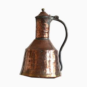 Large 19th Century Swedish Copper and Brass Water Kettle or Pitcher
