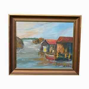 Mid-Century Fishing Village Landscape Oil Painting by A. Wide