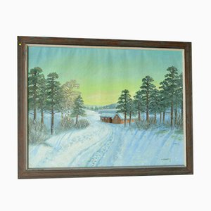 Vintage Winter Landscape Oil Painting by A. Thorenberg
