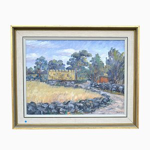 Mid-Century Framed Village Landscape Oil Painting