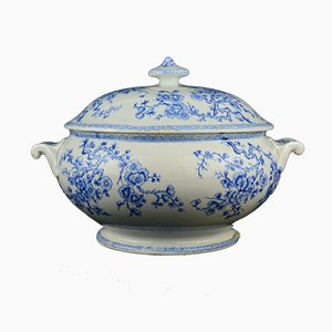 French Blue And White Tureen Bowl from Gien, 1850s