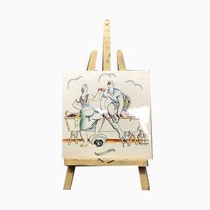 Panneau Décoratif La Pigiatura en Céramique par Gio Ponti pour Richard Ginori, 1930s