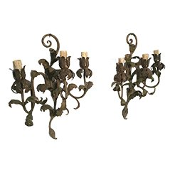 Decorative Painted Metal Wall Sconces, 1940s