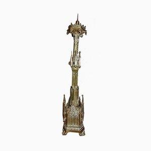 Antiker Neogotyk Messing Kerzenständer
