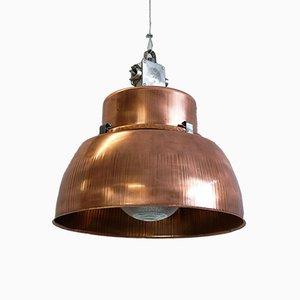 Grande Lampe d'Usine Industrielle avec Insert en Verre, 1930s