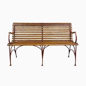 Art Nouveau Garden Bench, Chairs, and Folding Table Set, Set of 5