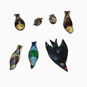 Hölzerne polnische Mid-Century Vögel von Stryszawa, 7er Set