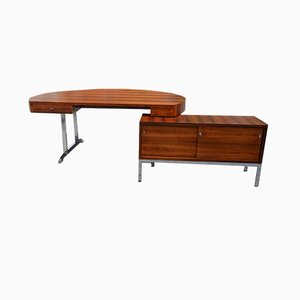 Round Rosewood and Chrome Desk and Sideboard Set from Soennecken, 1968