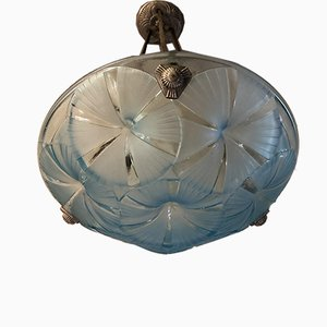 Art Deco Blue Chandelier by Degué, 1930s