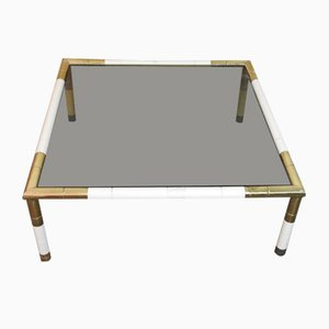 Regency Style Brass and Smoked Glass Coffee Table from Banci, 1970s