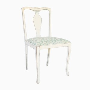 Antique Art Nouveau Style Swedish White Dining Chairs, Set of 4