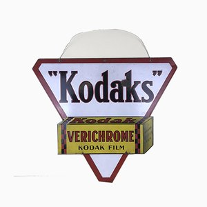French Double Sided Triangular Enameled Metal Kodaks Sign, 1940s