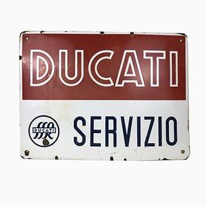 Insegna pubblicitaria Ducati Service Bikes in metallo smaltato, Italia, anni '50