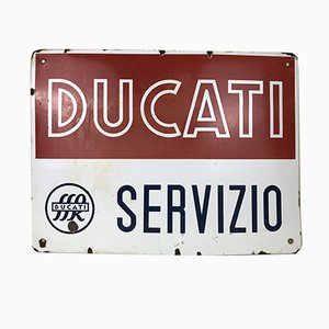 Italian Enameled Metal Ducati Service Bikes Advertising Sign, 1950s