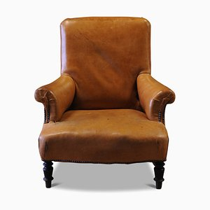 Antique Victorian Tan Leather Low Armchair with Stud Details, 1900s