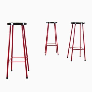 Mid-Century Red and Black Bar Stools, Set of 3