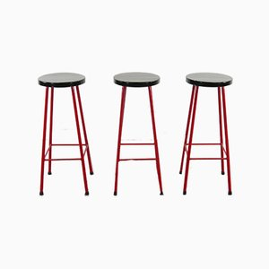 Mid-Century Red and Black Barstools, Set of 3