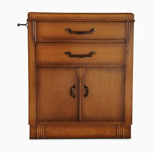 Art Deco Oak Tallboy Cupboard with Dovetail Drawers, 1930s