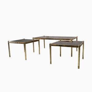 Italian Minimalist Brass Coffee Tables, 1970s, Set of 3