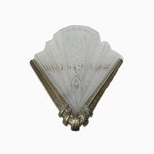 Vintage Art Deco Wandlampen aus geätztem Glas & vernickeltem Metall von Frontisi, 2er Set