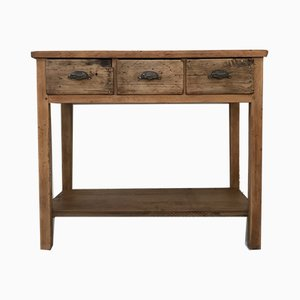 Vintage Industrial Wooden Console Table