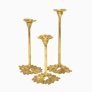 Mid-Century Brass Candleholders, Set of 3
