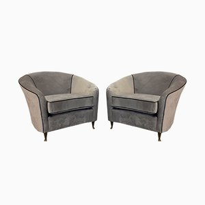 Italian Armchairs in Grey Velvet by Lorenzo Bergallo for Fratelli Bergallo, 1950s, Set of 2