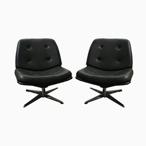 Vintage Leatherette Swivel Chairs, 1960s, Set of 2