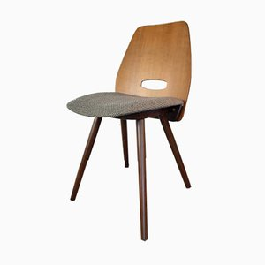 Czech Beech and Walnut Lollipop Dining Chairs by František Jirák for Tatra, 1960s, Set of 4