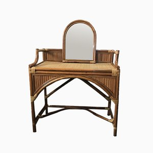 Vintage Rattan Dressing Table with Mirror, 1970s