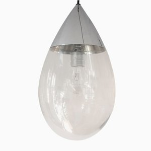 Mid-Century German Glass Drop Pendant Lamps from Glashütte Limburg, Set of 2
