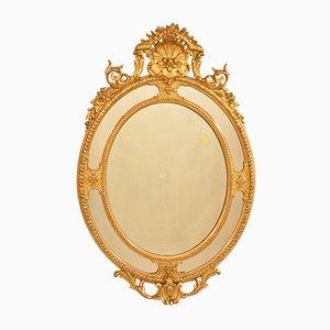 Antiker ovaler Spiegel mit goldenem Rahmen