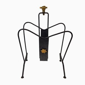 Wrought Iron and Gilded Brass Magazine Rack by Jacques Adnet, 1950s