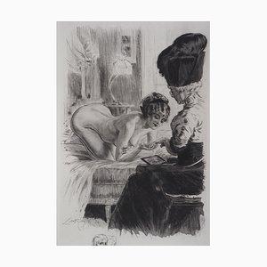 Miroir LOGEL-RICHE Alméry - La manucure intime, gravure originale signée