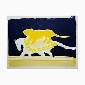 André BRASILIER : Cirque, Lion sur un cheval - Lithographie originale Signée