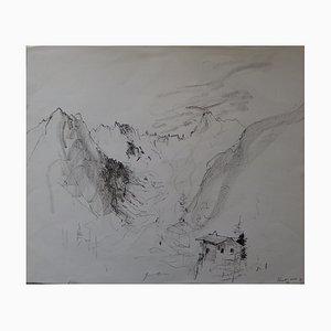 Bernard Gantner, Hütte in den Bergen, Original Zeichnung in Schwarzem Bleistift, Signiert