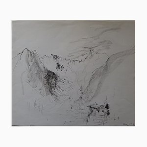 Bernard GANTNER - Hut in the mountains, original drawing in black pencil, signed