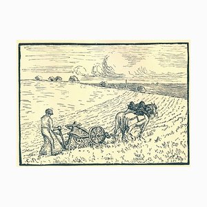 Camille / Lucien PISSARRO - The plowman, xylography
