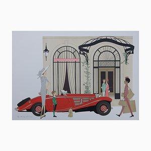 Denis-Paul NOYER - Mercedes Roadster 540K & Plaza Athenée - Pencil signed Lithograph, 115 copies