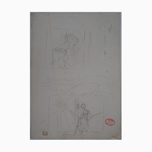Edgar Degas - At the Theater, Spectator and Saint George, original drawing (certificate)