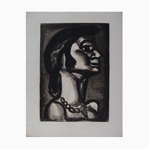 "Georges ROUAULT - En bouche qui fut fraîche, goût de fiel (""In a mouth that was fresh, a taste of bile""), 1922, engraving"