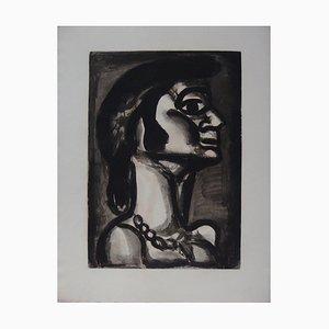 """Georges ROUAULT - En bouche qui fut fraîche, goût de fiel (""""In una bocca che era fresca, un sapore di bile""""), 1922, incisione"""