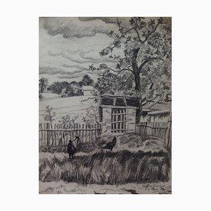 Gilbert Poillerat, Hen House, 1940, Originale Zeichnung