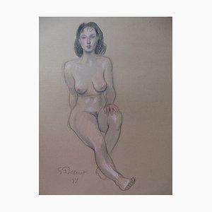 Gilbert POILLERAT (1902-1988) - Modell mit dunklen Augen, 1987, signierte Originalzeichnung