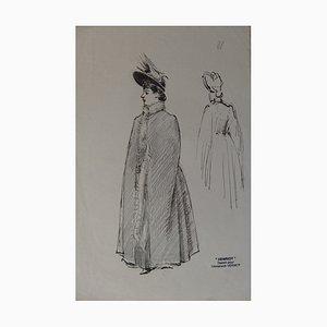 Henri MAIGROT, dit HENRIOT - Femme sortant du bal, Dessin à l'encre signé