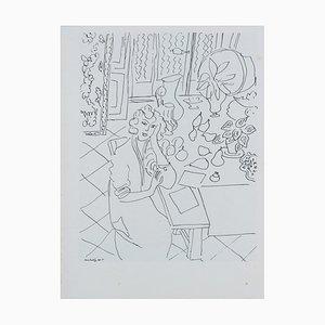 Femme À La Fenêtre Lithografie nach Henri Matisse