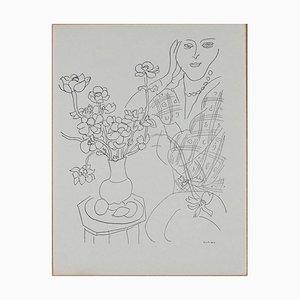 Henri MATISSE (nachher) - Femme et vase de fleurs - Lithographie