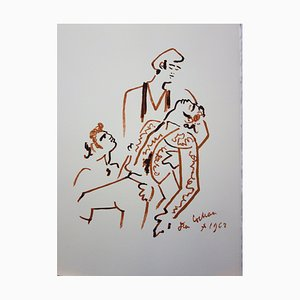 Defeated Bullfighter Color Lithograph by Jean Cocteau, 1965