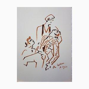Jean Cocteau - Taureau Vaincu, 1965 - Lithographie en Couleur