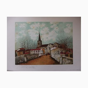 Maurice UTRILLO (after) - Suburban church, signed lithograph